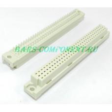 DIN41612-9001-12641C, розетка вертикального монтажа, 3 рядная, 64 контакта (золото)