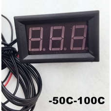Цифровой термометр, с датчиком 1 м, -50/+100ºС, питание 5-12В, цвет зеленый