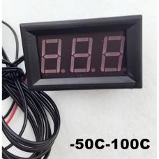 Цифровой термометр, с датчиком 1 м, -50/+100ºС, питание 5-12В, цвет синий