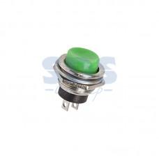 Кнопка нажимная без фиксации, металлическая 220В 3А, зеленая (MG-D 306)