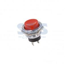Кнопка нажимная без фиксации, металлическая 220В 3А, красная (MG-D 306)