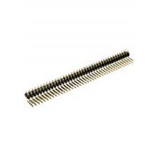 DS1022-2х40R, вилка угловая, штыревая, двухрядная, на плату, шаг 2,54мм