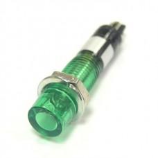 Лампочка неоновая в корпусе, цвет зеленый, 220В