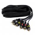 Аудио-видео кабель,3 RCA - 3 RCA, длина 3 метра, черный, GOLD