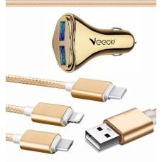 ЗУ в прикуриватель на 2 гнезда, USB VEECLE HM-C13