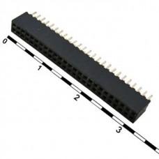 PBL-2X25, розетка прямая, двухрядная, на плату, шаг 1.27мм