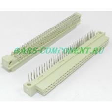 DIN41612-9001-34641C, розетка горизонтального монтажа, 2 рядная, 64 контакта (золото)