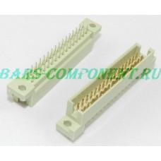 DIN 41612 -9001-37321C, вилка вертикального монтажа, 2 рядная, 32 контакта (золото)