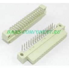 DIN41612 -9001-38321C, розетка горизонтального монтажа, 2 рядная, 32 контакта (золото)