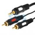 Аудио-кабель, 1. 5м, 3.5 мм 3С - 2 RCA, GOLD