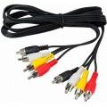 Аудио-видео кабель,4 RCA - 4 RCA, длина 3 метра, черный