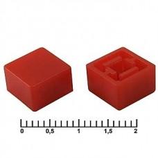 Колпачок на тактовую кнопку, 9.2х9.2х4.7 мм, A27 красный